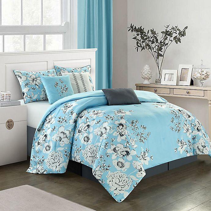 Alternate image 1 for Nanshing Diana 7-Piece King Comforter Set in Blue
