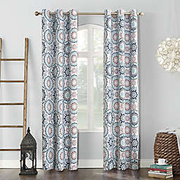Sun Zero® Nepal Global Medallion Print 95-Inch Blackout Grommet Curtain Panel in Stone