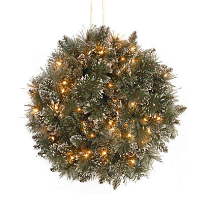 National Tree Company 16-Inch Pre-Lit Glittery Bristle Pine Kissing Ball with LED Lights