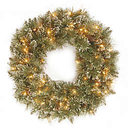 National Tree Company 24-Inch Pre-Lit Glittery Bristle Pine Wreath with Clear Lights