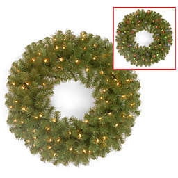 National Tree 24-Inch North Valley Spruce Wreath Pre-Lit with 50 Color Changing LED Lights