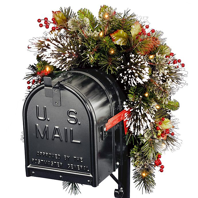 Alternate image 1 for National Tree 3-Foot Wintry Pine Collection Pre-Lit Mailbox Swag