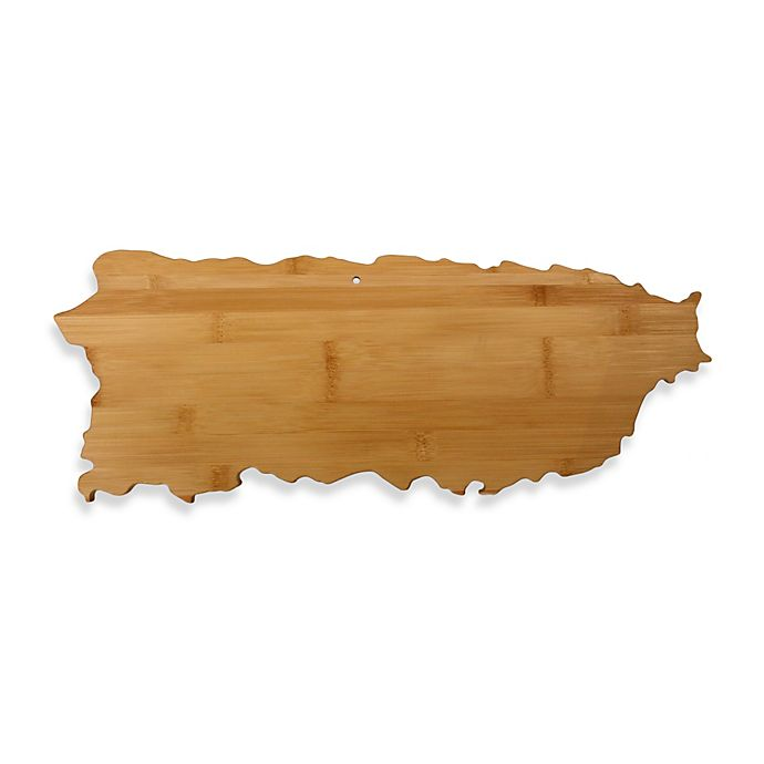 Alternate image 1 for Totally Bamboo Puerto Rico State Shaped Cutting/Serving Board