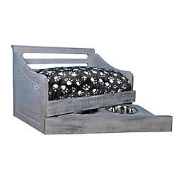 IconicPet Wooden Small Pet Bed with Feeder in Grey