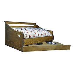 IconicPet Wooden Pet Bed with Feeder
