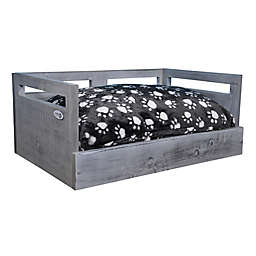 IconicPet Wooden Small Pet Bed with Cushion in Grey