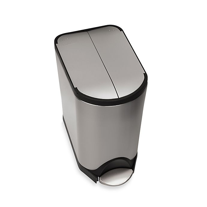 Alternate image 1 for simplehuman® Brushed Stainless Steel Fingerprint-Proof 20-Liter Butterfly Step Trash Can