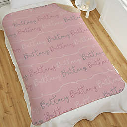 Modern Girl Name Personalized 50-Inch x 60-Inch Sherpa Blanket