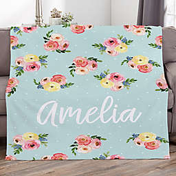 Floral Print Personalized 50-Inch x 60-Inch Fleece Blanket