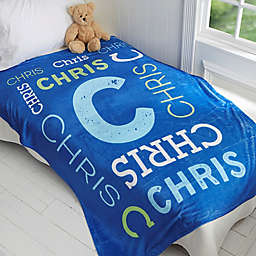 Repeating Name Personalized 50-Inch x 60-Inch Plush Fleece Baby Blanket