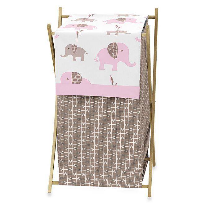Alternate image 1 for Sweet Jojo Designs Mod Elephant Laundry Hamper in Pink/Taupe