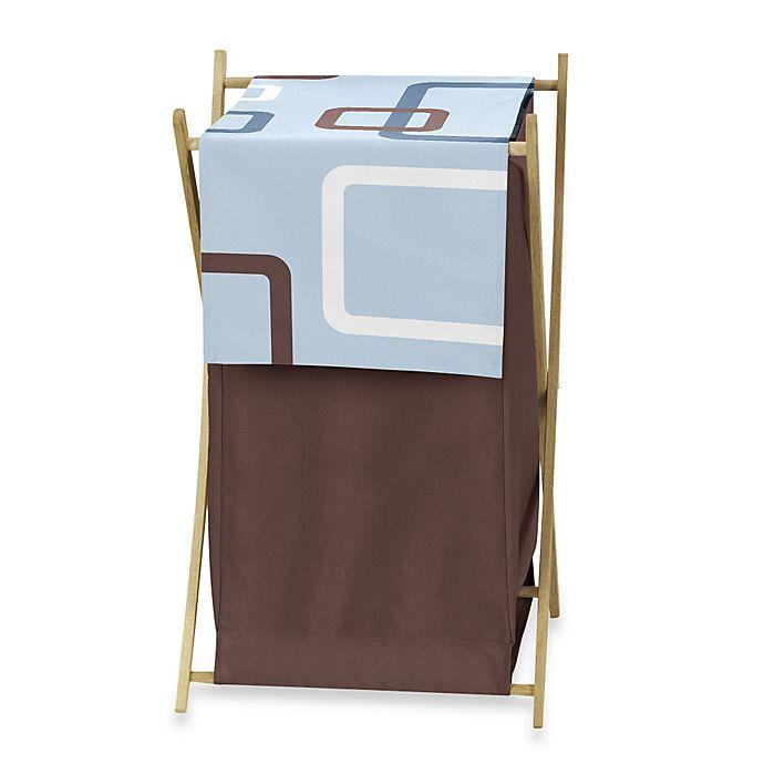 Alternate image 1 for Sweet Jojo Designs Geo Laundry Hamper in Blue/Brown