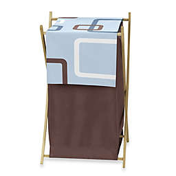 Sweet Jojo Designs Geo Laundry Hamper in Blue/Brown