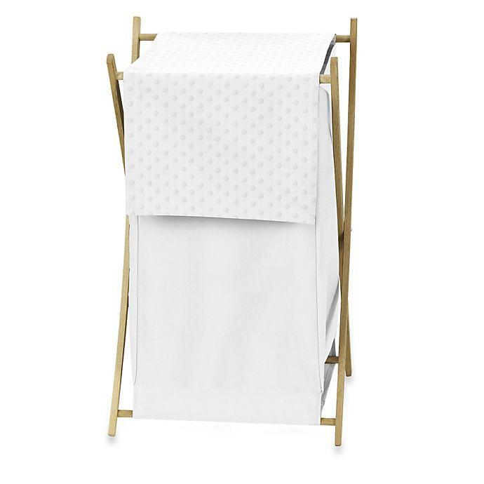 Alternate image 1 for Sweet Jojo Designs Minky Dot Laundry Hamper in White
