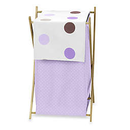 Sweet Jojo Designs Mod Dots Laundry Hamper in Purple/Chocolate