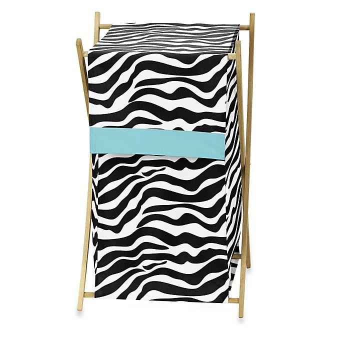 Alternate image 1 for Sweet Jojo Designs Funky Zebra Laundry Hamper in Turquoise