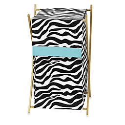 Sweet Jojo Designs Funky Zebra Laundry Hamper in Turquoise