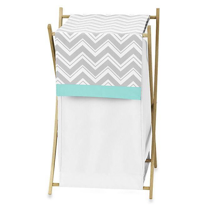 Alternate image 1 for Sweet Jojo Designs Zig Zag Chevron Laundry Hamper in Turquoise/Grey