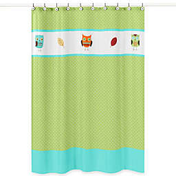 Sweet Jojo Designs Hooty Collection Shower Curtain in Turquoise/Lime