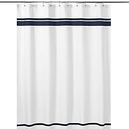 Sweet Jojo Designs Hotel Shower Curtain in White/Navy
