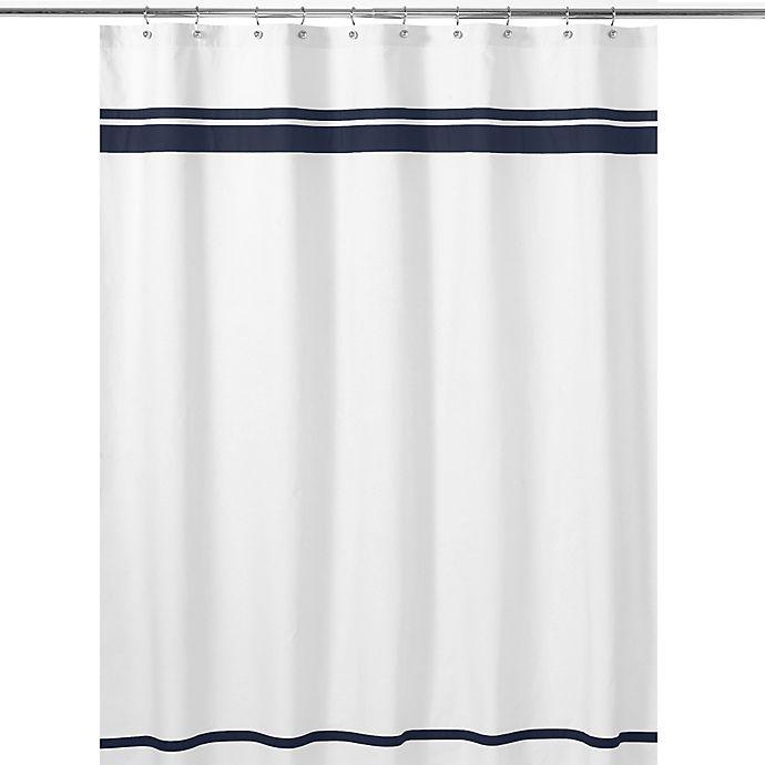 Alternate image 1 for Sweet Jojo Designs Hotel Shower Curtain in White/Navy