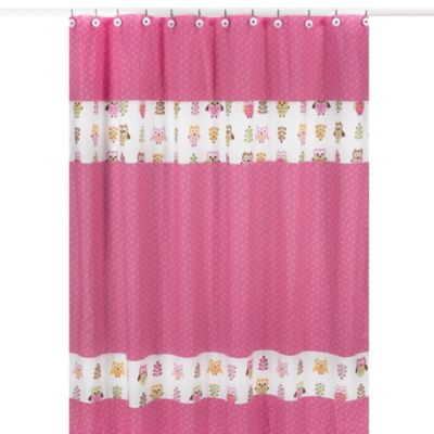 Sweet Jojo Designs Happy Owl Shower Curtain in Pink | Bed ...