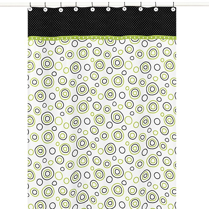Sweet Jojo Designs Spirodot Shower Curtain In Lime And Black