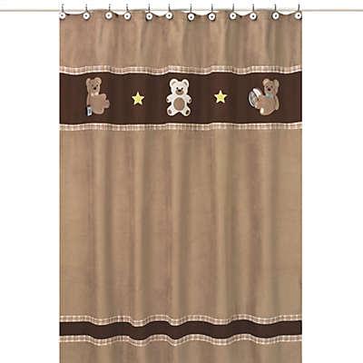 Sweet Jojo Designs Teddy Bear Shower Curtain in Chocolate