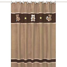 Sweet Jojo Designs Teddy Bear Shower Curtain in Chocolate