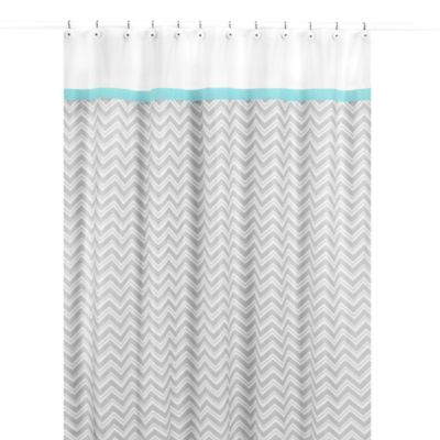 Sweet Jojo Designs Zig Zag Shower Curtain In Turquoise And
