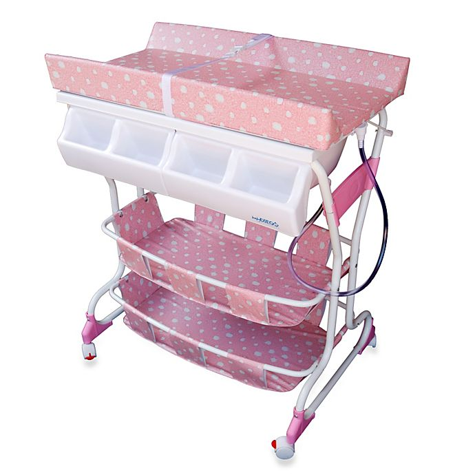 Alternate image 1 for Baby Diego Deluxe Bath Tub & Changer Combo in Pink