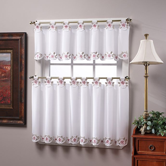 Alternate image 1 for Capri Tab Top 24-Inch Window Curtain Tier Pairs in White/Rose