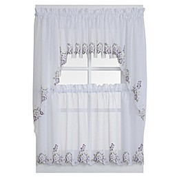Isabella Window Curtain Swag Valance in White/Lilac
