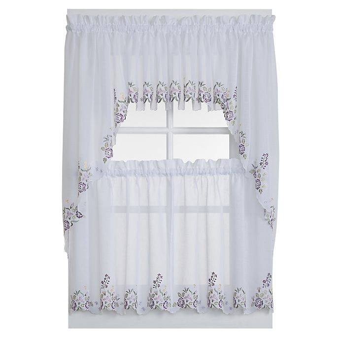 Alternate image 1 for Isabella Window Curtain Valance in White/Lilac