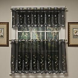Samantha Sheer Window Curtain Tier Pair in Black/Multi