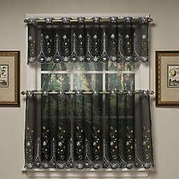 Samantha Sheer Window Curtain Valance in Black/Multi
