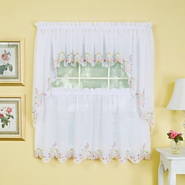 Isabella Window Curtain Valance in White/Rose