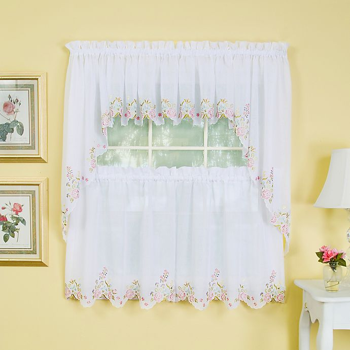 Alternate image 1 for Isabella 24-Inch Window Curtain Tier Pair in White/Rose
