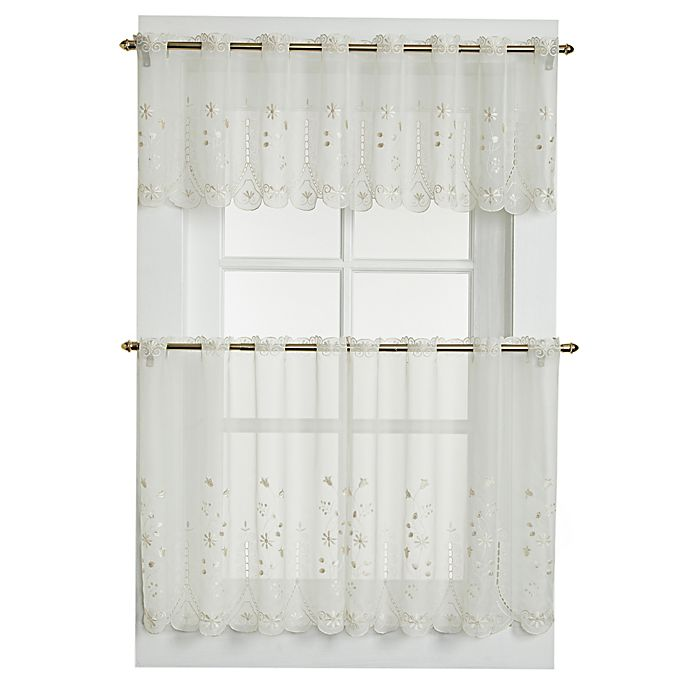 Alternate image 1 for Samantha 36-Inch Sheer Window Curtain Tier Pair in Ecru