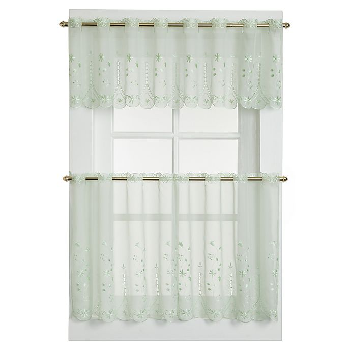 Alternate image 1 for Samantha Sheer Window Curtain Tier Pairs in Sage