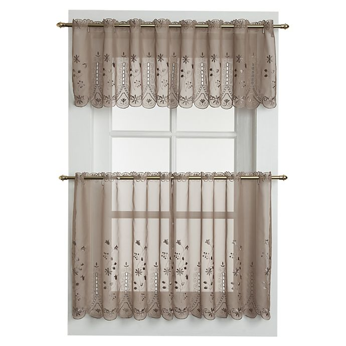 Alternate image 1 for Samantha Sheer Window Curtain Valance in Taupe