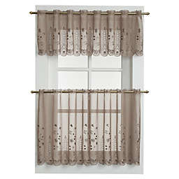 Samantha 24-Inch Sheer Window Curtain Tier Pair in Taupe