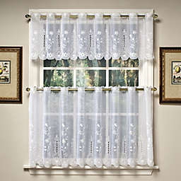 Samantha 24-Inch Sheer Window Curtain Tier Pairs in White