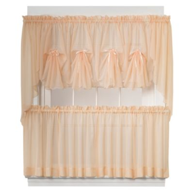 Emelia Window Curtain Tier Pairs And Valance In Peach Bed Bath