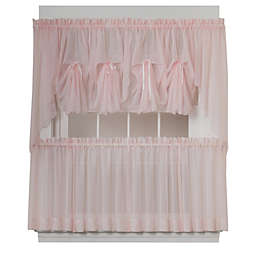 Emelia Window Curtain Tier Pairs and Valance in Rose