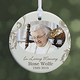In Loving Memory Photo Memorial 1-Sided Glossy Christmas Ornament
