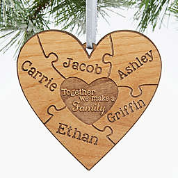 Together We Make A Family Christmas Personalized Ornament in Brown