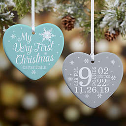 My Very First Christmas 2-Sided Glossy Personalized Heart Ornament