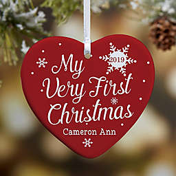 My Very First Christmas 1-Sided Glossy Personalized Heart Ornament