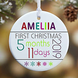 Baby's 1st Christmas Personalized 1-Sided Matte Christmas Ornament